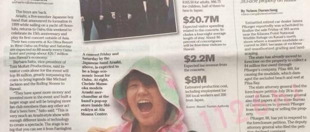 嵐ハワイツアーがハワイにもたらす経済効果は20億円超!ジャニヲタ3万人がハワイに押し寄せる 地元紙報じる
