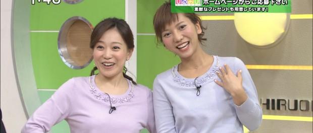 AKB48高城亜樹、生放送の「ひるおび」で江藤愛アナと衣装がかぶるwwww(画像あり)