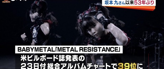 BABYMETALが快挙!日本人2組目の米アルバムチャートTOP40入り 坂本九以来53年ぶり