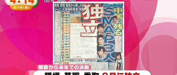【SMAP】稲垣・草彅・香取ジャニーズ事務所退社 出演番組も9月で全て終了 中居は周囲への影響を考慮し残留を決意