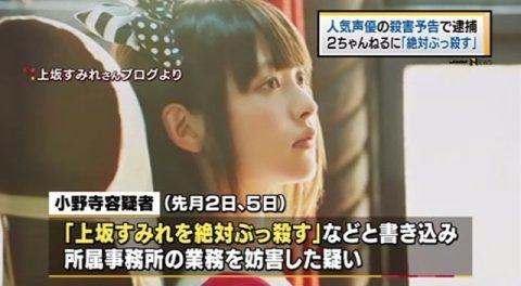 2ちゃんねるに声優で歌手の上坂すみれさんへの殺害予告を20回投稿し高専5年の小野寺くん逮捕wwwww