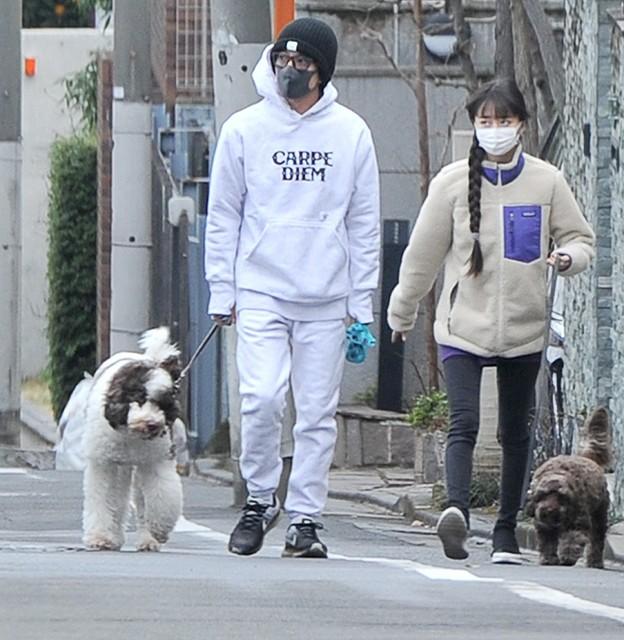 キムタク 犬の散歩