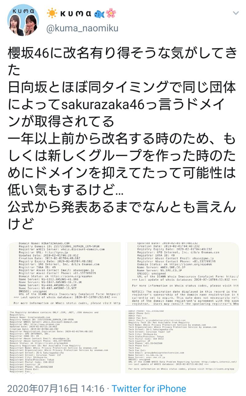 櫻坂46 櫻坂46に改名有り得そうな気がしてきた 日向坂とほぼ同タイミングで同じ団体によってsakurazaka46っ言うドメインが取得されてる 一年以上前から改名する時のため、もしくは新しくグループを作った時のためにドメインを抑えてたって可能性は低い気もするけど… 公式から発表あるまでなんとも言えんけど